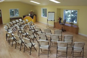 Pine Room set up with chairs.